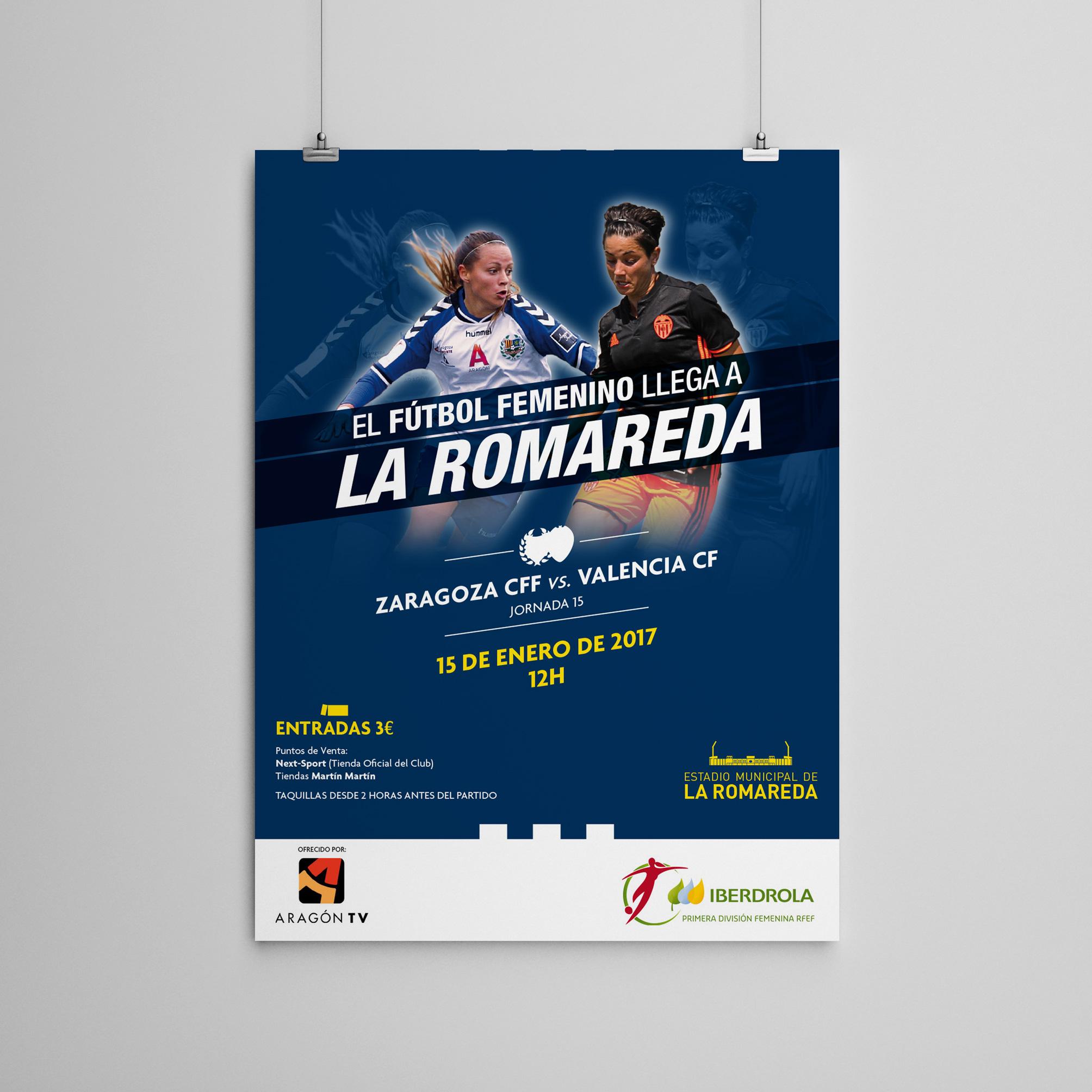 Diseño de cartel Romareda y Zaragoza CFF